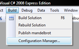 Visual Studio Options Menu